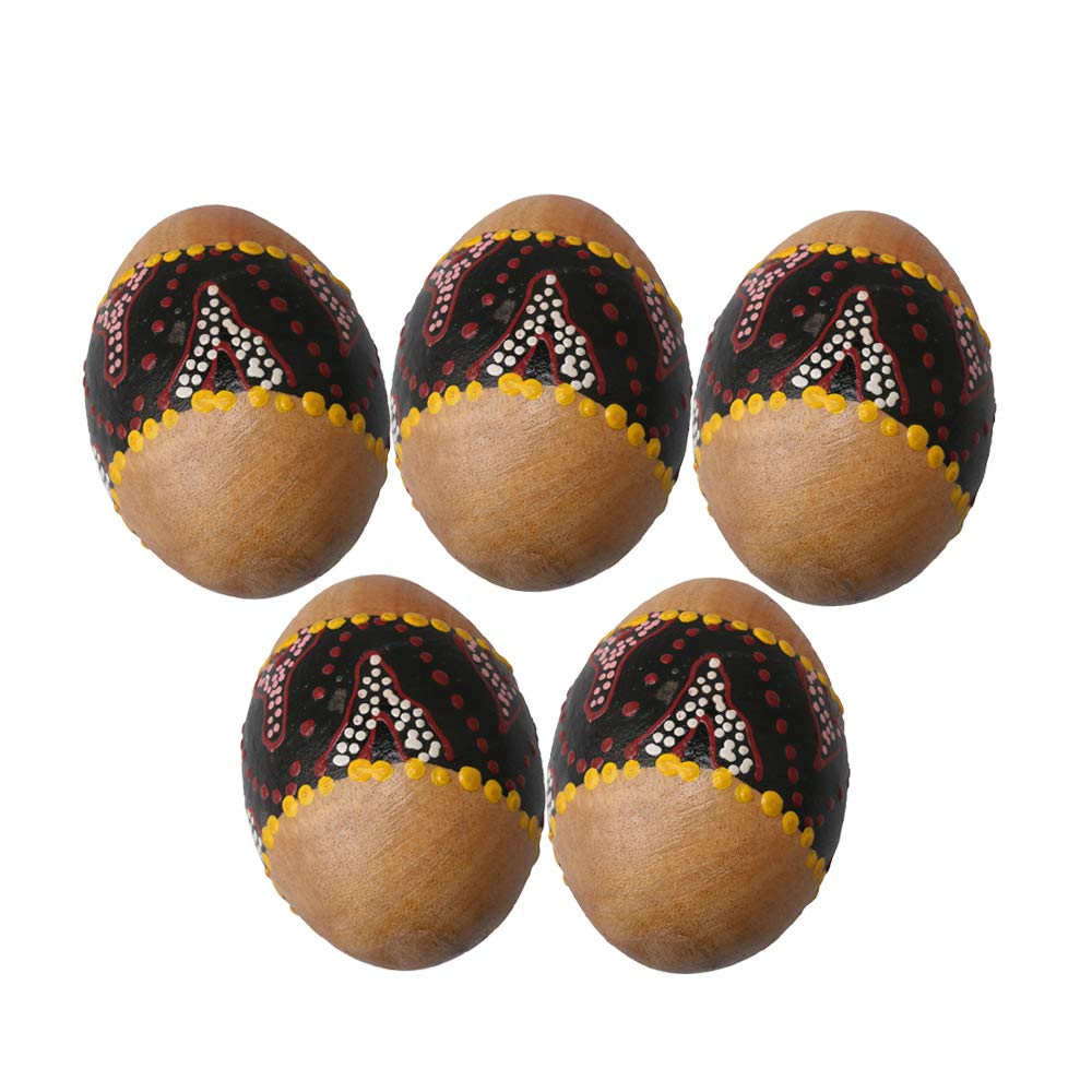 Lovermusic 68x47mm Wooden Painted Percussion Sand Egg Shakers Musical Toy Pack of 5