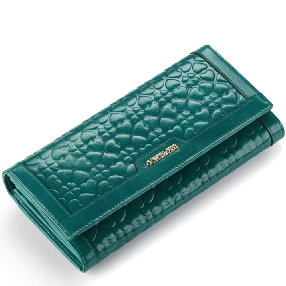 bluee Wallet & Purse, Women's Leather Wallet Long Top Layer Cowhide Leather Clip Casual Purse Card Pack