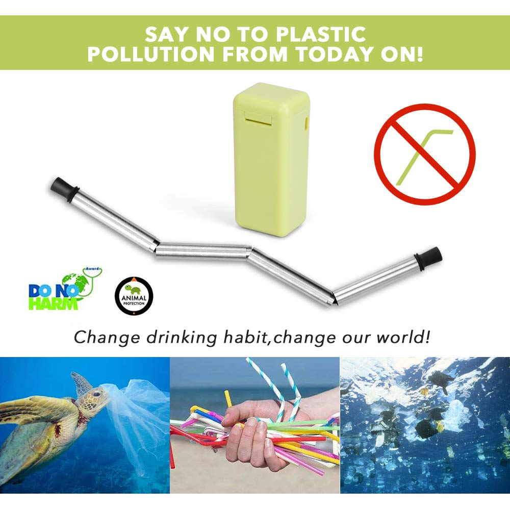 Collapsible Straw Reusable Stainless Steel, Folding Drinking Straws Keychain Foldable Final Premium Food-grade Portable Set with Hard Case Holder Cleaning Brush for Travel, Household, Outdoor-Green by Hydream (Image #4)