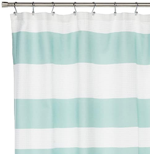 Spa Waffle Weave Striped Fabric Shower Curtain Classic