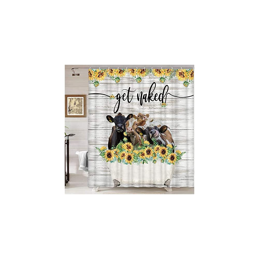 Funny Get Naked Shower Curtain Farmhouse Animal Highland Cow with Sunflower In Bathtub Cattle Shower Curtains Set…