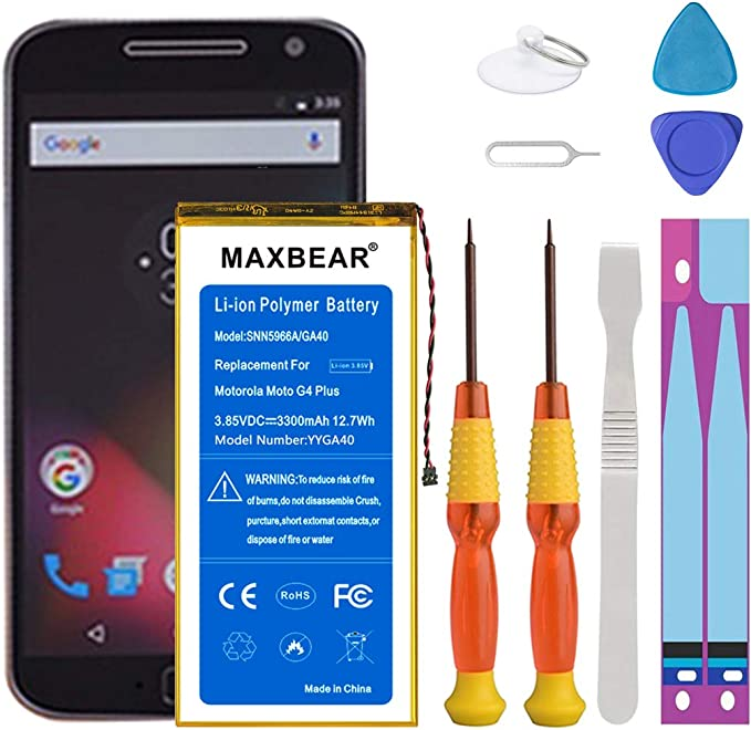 Moto G4 Plus Battery, MAXBEAR [3300mAh] Li Polymer Built in