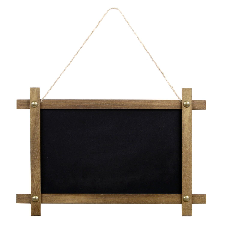 "Rustic Vintage Framed Hanging Steel Chalkboard (15"" x 0.5"" x 10"") Magnetic with Wooden Frame Both Sides Writable"