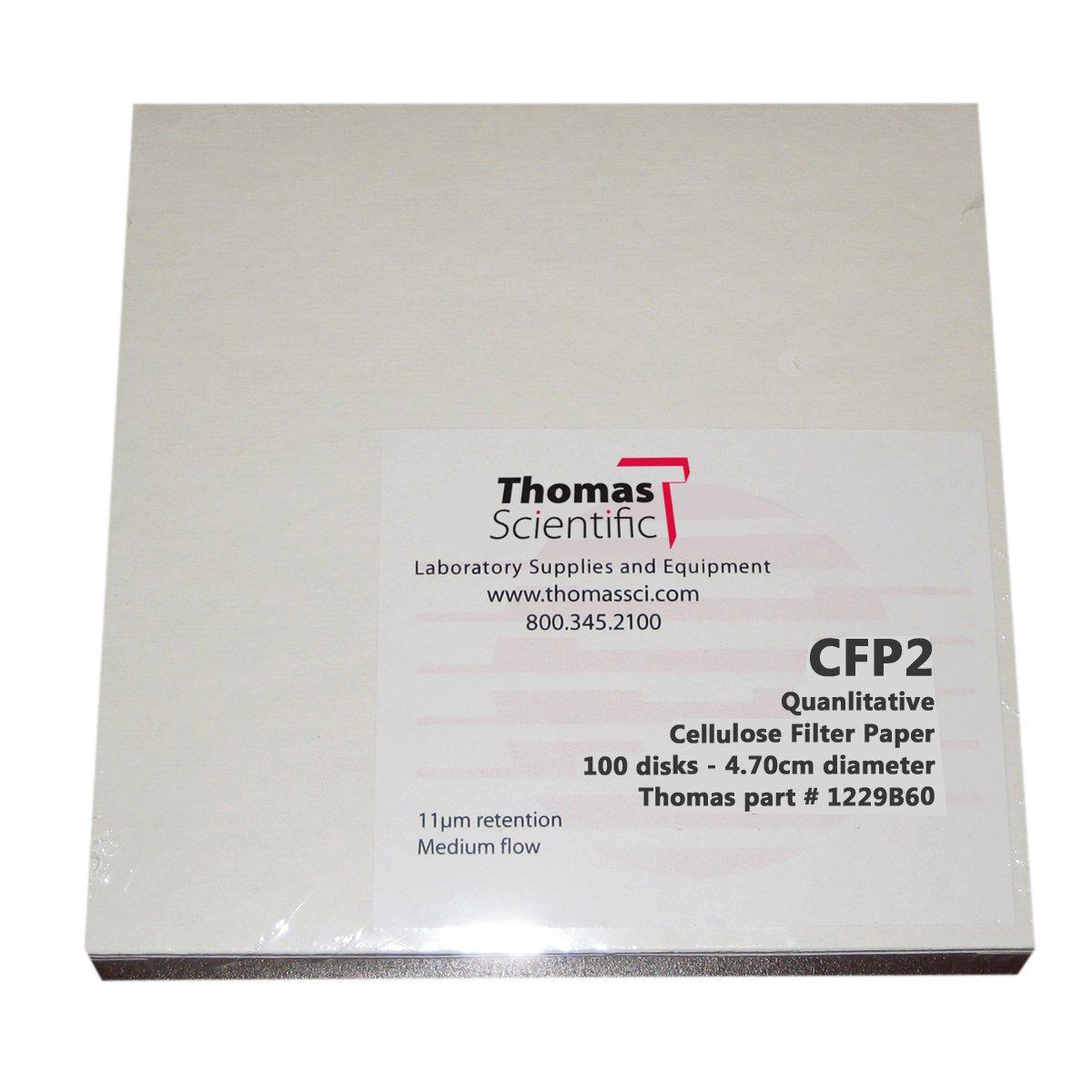 Thomas CFP2-150 Cellulose Qualitative Filter Paper, 8 Micron, Medium-Slow Flow, Grade CFP2, 15cm Diameter (Pack of 100)