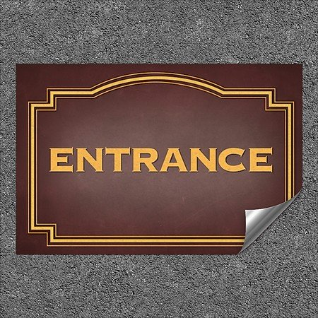 CGSignLab |''Entrance -Classic Brown'' Heavy-Duty Industrial Self-Adhesive Aluminum Wall Decal | 36''x24''