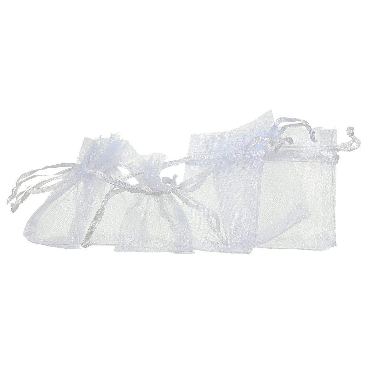 Aofocy Paquete de 100 Bolsas de Regalo de Boda de Organza Blanca