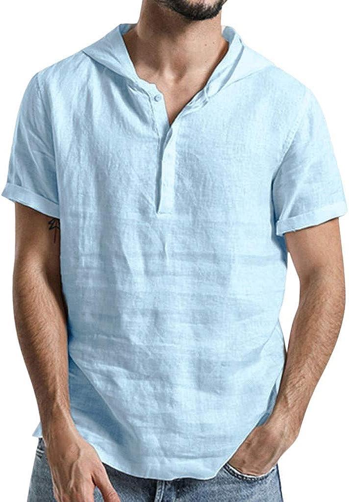 Mens Shirts Cotton Linen Summer Henley Shirts Short Sleeve V Neck Casual T-Shirt Beach Tops