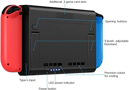 Nintendo Switch Battery Case 6500mAh Extended External Battery