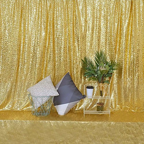 GFCC Sequin Backdrop Sequin Gold Backdrop Curtain for Wedding/Birthday Party/Baby Showers/Photography-6ftx8ft ()