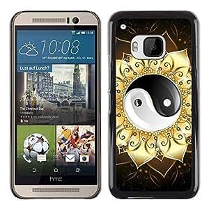 Be Good Phone Accessory // Dura Cáscara cubierta Protectora Caso Carcasa Funda de Protección para HTC One M9 // Ying Yang Floral Sign