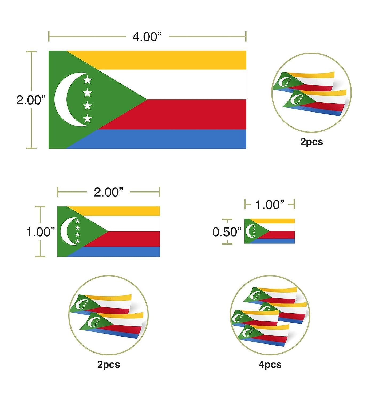 Desert Cactus Comoros Country Flag Sticker Decal Variety Size Pack 8 Total Pieces Kids Logo Scrapbook Car Vinyl Window Bumper Laptop V