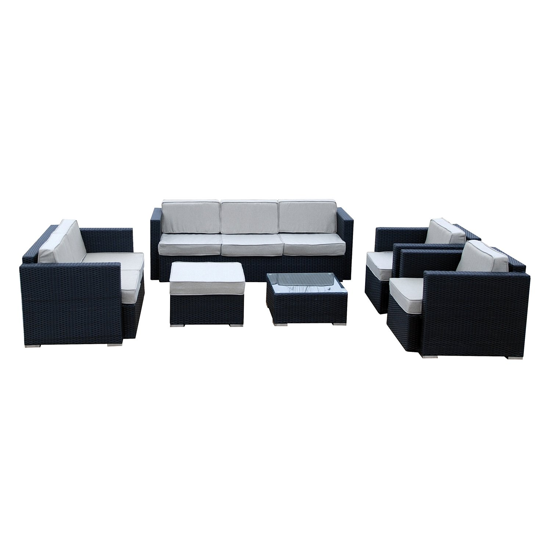Ambientehome Polyrattan Loungegruppe Riesenset inkl. Kissen TOPSTAR, schwarz, 6-teiliges Set