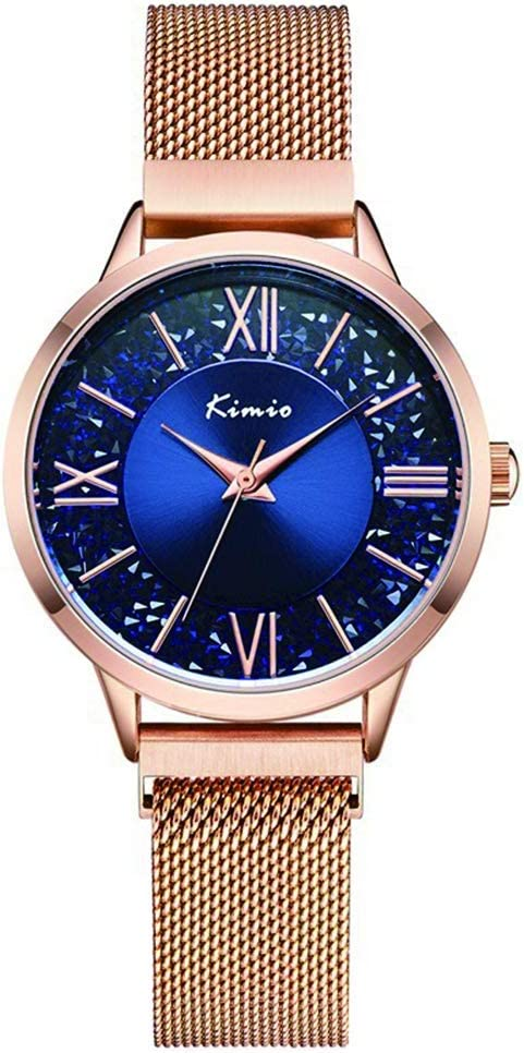 Pursue Ver Temperamento Rhinestone Reloj De Cuarzo Femenino Temperamento Simple Impermeable Oro Rosa Hebilla Magnética Reloj De Señoras