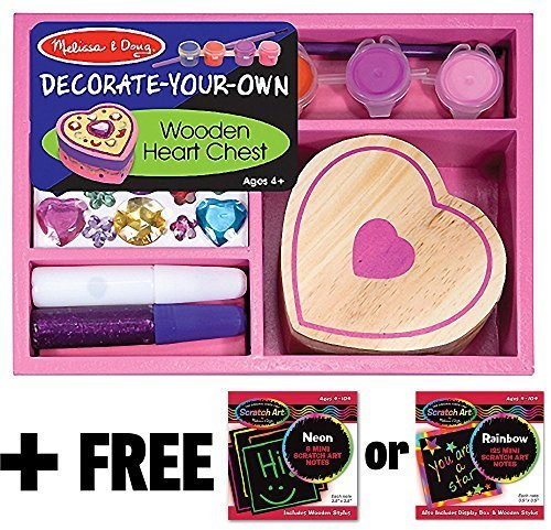 Melissa & Doug Wooden Heart Chest Decorate-Your-Own Kit + Free Scratch Art Mini-Pad Bundle [30946]