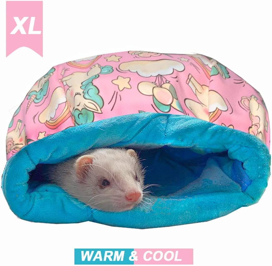 Ferret Cage Accessories Cute Ferret Rat Bed Stuff for Cage Set Supplies(Pink Sleeping Bag)