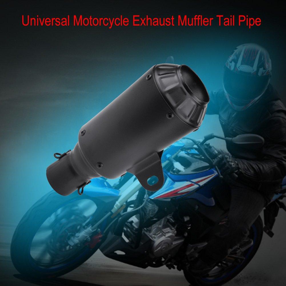 Black Qiilu Universal Motorcycle Exhaust Tail Pipe for Street Bike Sport Motor