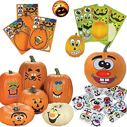 Sticker Pumpkin Decorating Pack for 12 People With 12 Foam Stickers, 12  Make-A-Jack-O-Lantern Sticker Faces for Pumpkins, and 24 Jack-O-Lantern
