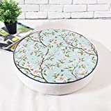 MEMORECOOL LIGHT UP YOUR HOME Round Zafu Yoga Meditation Cushion, Filled with Sponge, for Kids Play Game on 20 Inch, Green Floral