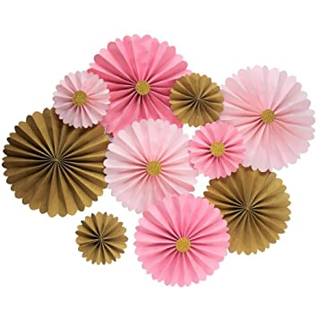 Mybbshower Pink Gold Paper Flowers Wall Home Decor Girls Birthday Party Pinwheel Backdrop Pack Of 10