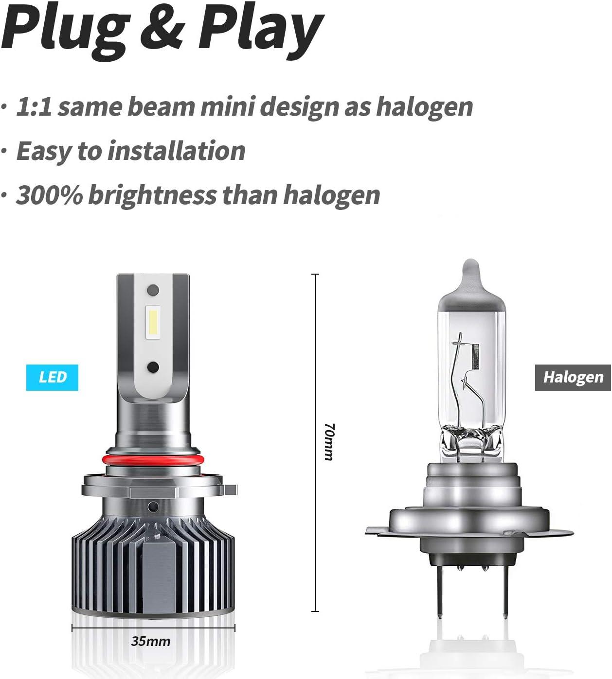 KMV 9005//H10//HB3 Headlight Bulbs,70W 12000LM 6000K Extremely Bright LED Bulb Conversion Kit /Wireless Headlight LED Bulb,Pack of 2