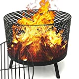 EasyGO Products EGP-FIRE-016 Camping Patio Outdoor Fire Pit Black Finish Wood Burning Port