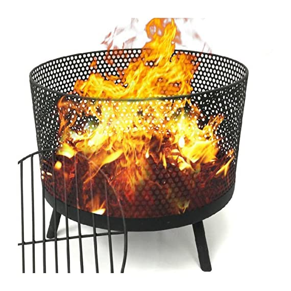 EasyGO Products EGP-FIRE-016 Camping Patio Outdoor Fire Pit – Black Finish Wood Burning Port - STYLISH AND FUNCTIONAL – Unique design create a relaxing atmosphere and invites friends and family to share a great time while cooking, staying warm and cozy, or just enjoying this outdoor fire ring. STRONG AND STURDY – Made of durable construction, our steel fire pit has a black finish and is long lasting. EASY ASSEMBLY – This firepit wood burning addition to your porch, deck or patio is easy to put together and the fire bowl is a nice size measuring as 21 inches. Also great for camping, beaches and outdoor events. - patio, outdoor-decor, fire-pits-outdoor-fireplaces - 61S5%2BTxgaYL. SS570  -
