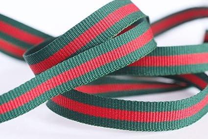 523e4e957ee Amazon.com  10 mm Red Green Striped Ribbon Trim