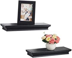 Floating Shelves Wall Mounted,Set of 2,Classic Crown Molding Design,Great for Bedroom,Living Room,Bathroom,Kitchen,5 Inch Depth,Deeper than others,Black