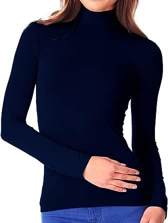 MediaWaveStore VKA22 Camiseta térmica para Mujer con Interior de Felpa Cuello Alto