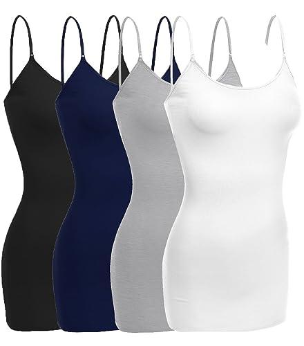Emmalise Women Basic Built In Bra Spaghetti Strap Layering Cami Top Tank S-3XL