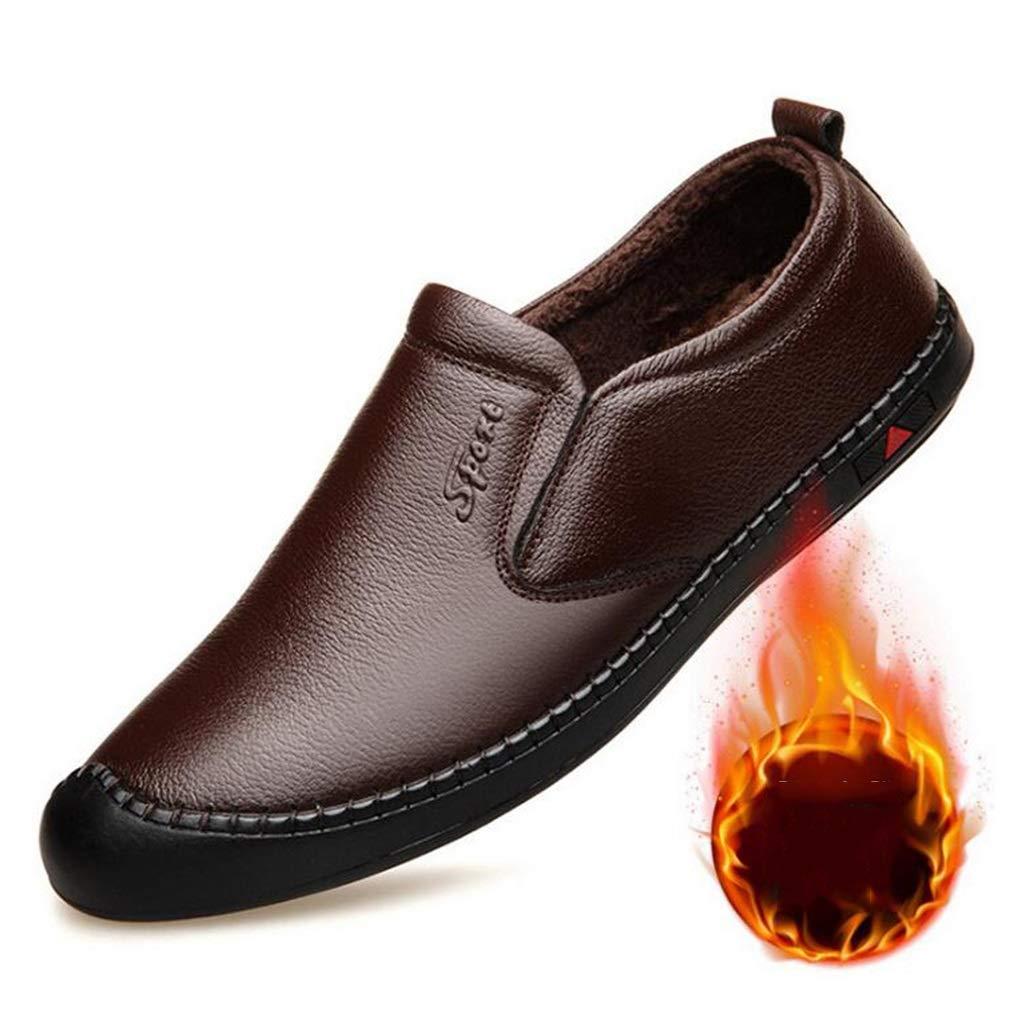 Hy Herren Freizeitschuhe Herbst Herbst Herbst Winter Leder Halbschuhe & Slip-Ons Faule Schuhe Komfort Slip-Ons Dad Schuhe Driving Schuhe (Farbe   Plus Velvet braun Größe   43) de0099