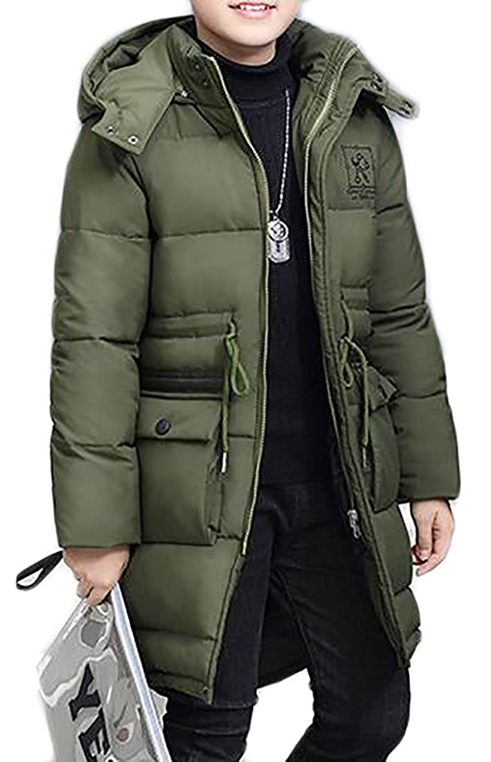 Yayun Yayu Boys Hooded Padded Thick Warm Puffer Long Casual Down Jacket