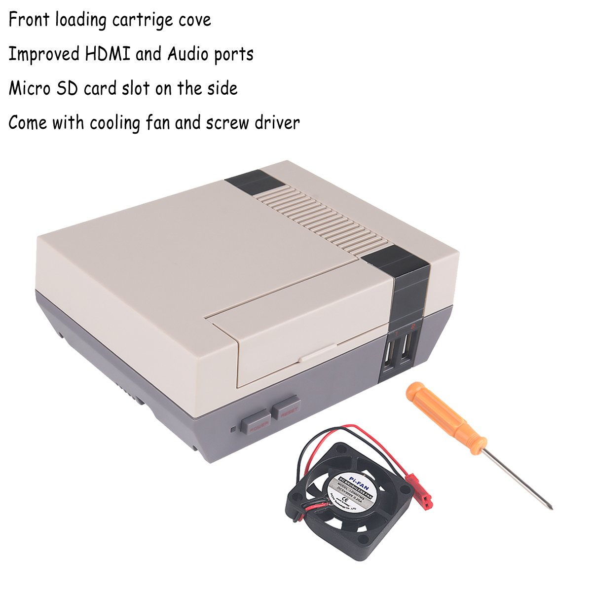 MakerFocus NESPi Case, Retroflag Nespi Case, Raspberry Pi 3 NES FC Style Case with Cooling Fan and Screw Driver Enclosure Compatible with Raspberry Pi 3, 2 and B+