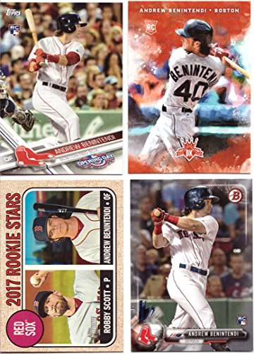 Andrew Benintendi Baseball Rookie Card Lot of 4 - 2017 Bowman, 2017 Panini Donruss, 2017 Topps Heritage, and 2017 Topps Opening Day Topps and Donruss