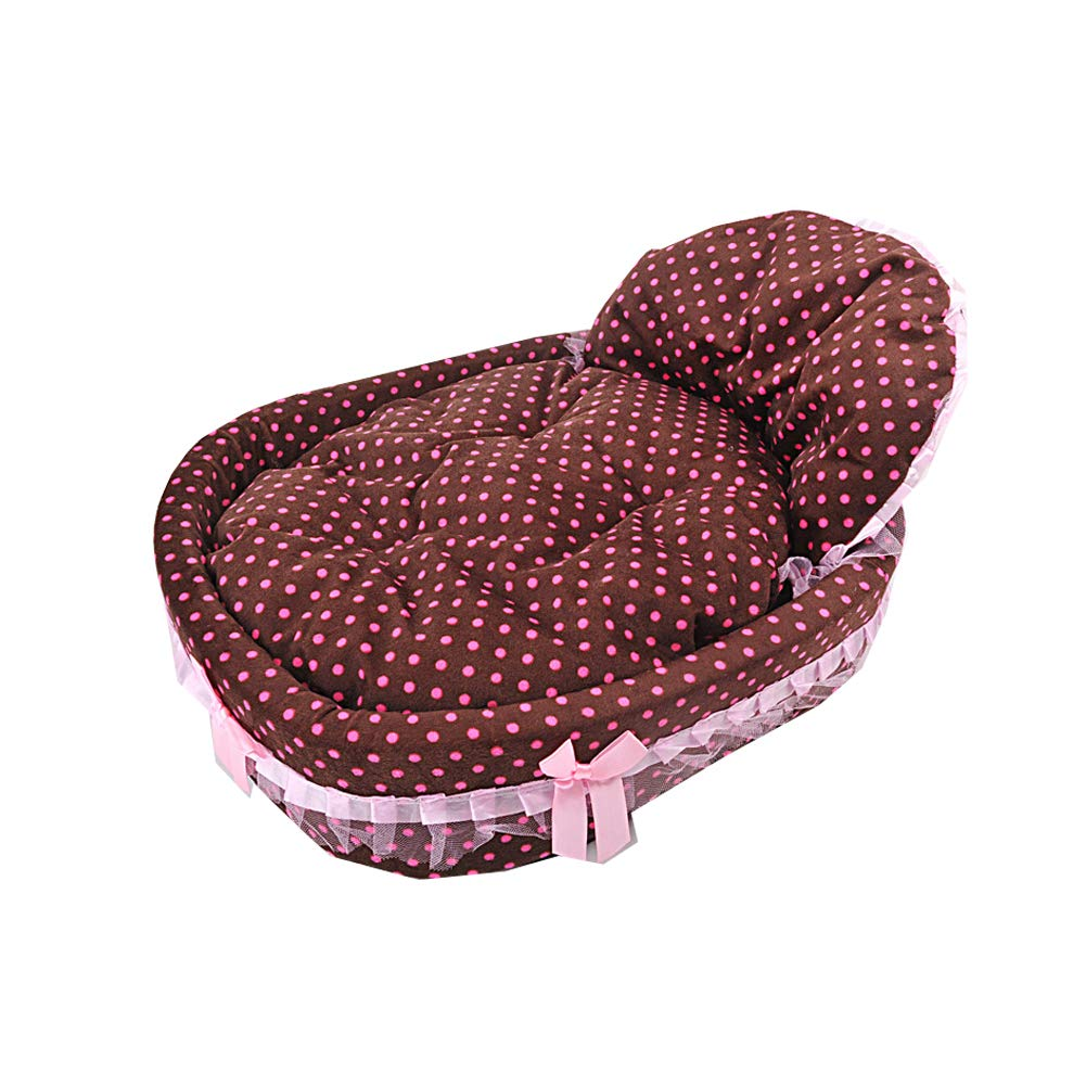 Brown Small Brown Small High Back Bow Pet Princess Bed Oval Pet Princess Nest