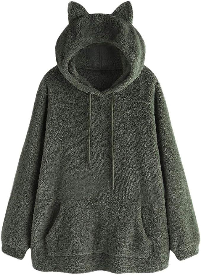 Women Cute Cat Ears Hoodie Sweatshirt Hooded Jumper Sweater Pullover Tops Coat A