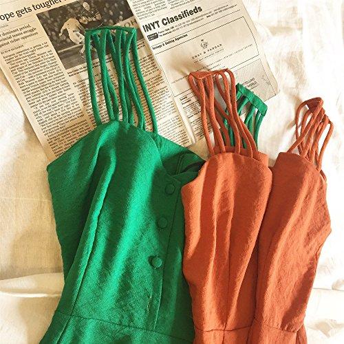 Sling Rouge M Longue Robe Dos Jupe Orange Taille Retro Robe MiGMV Bretelles Robe Sxwq786x