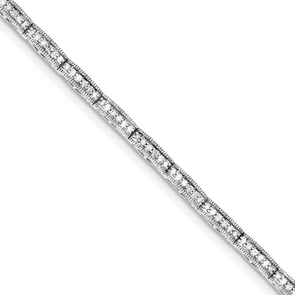Sterling Silver Rhodium-plated Diamond Bracelet