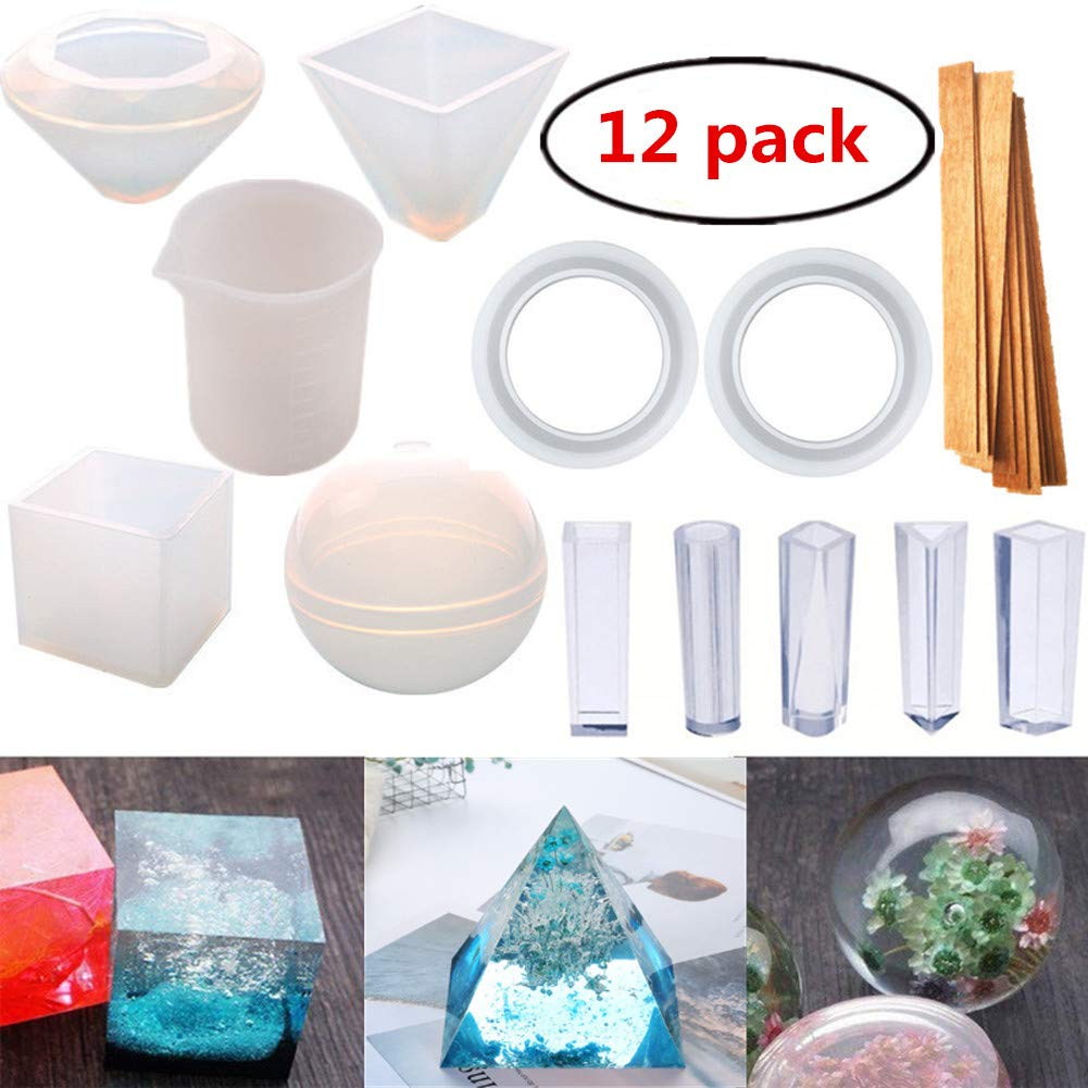 12 Pack Resin Casting Molds Large Clear DIY Silicone Molds for Epoxy Resin Including Spherical, Cubic, Diamond, Triangular Pyramid, with Measurement Cups& Wood Sticks Etc HYOUNINGF