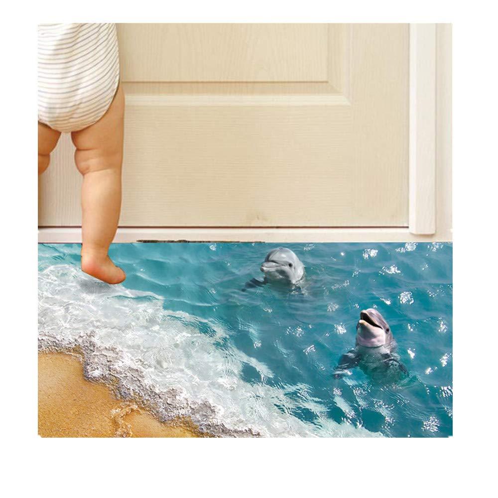 Lanhui 3D Beach Floor/Wall Sticker, Removable Mural Decals Vinyl Art Living Room Decors White