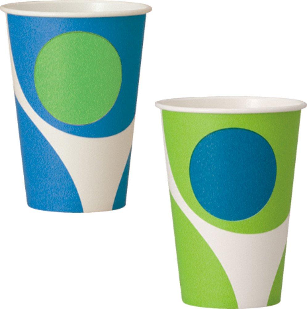 日本デキシー 業務用デザインカップホット&コールド 7フリング(2デザインアソート) 215ml 2500個セット GCCMP7GF  ブルー&グリーン B076HM3KD8