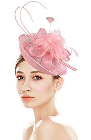 Z X Sinamay Fascinator with Headbad Feather Floral Pillbox Hat for Cocktail  Wedding Pink aec763c24b1