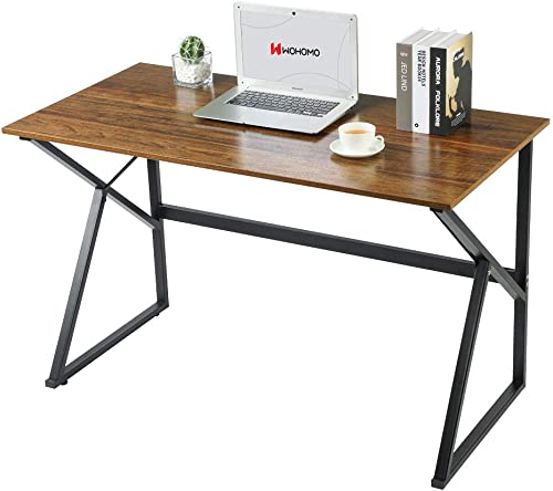 WOHOMO Computer Desk Small Desk Study Writing Desk Simple Home Office Desk 47″ Wood and Metal Desk - the best home office desk for the money