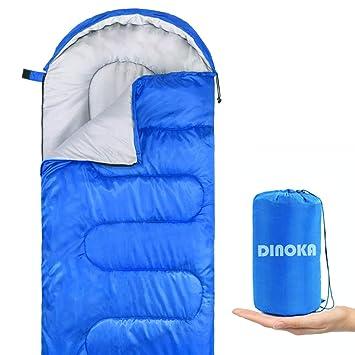 DINOKA Saco De Dormir para Acampar - Bolsa de Dormir 3 Estaciones Clima Cálido y Fresco