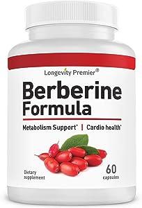 Longevity Berberine Formula 1200mg/Serving, Support HealthyGlucose Metabolism; Premium Blood Sugar Support Supplement.