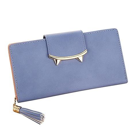 Monedero Larga Cartera de Grandes Piel de Moda Azul para Mujer I