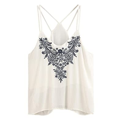 8407bc6857fa97 Bluester Women Flower Embroidered Strappy Cami Top