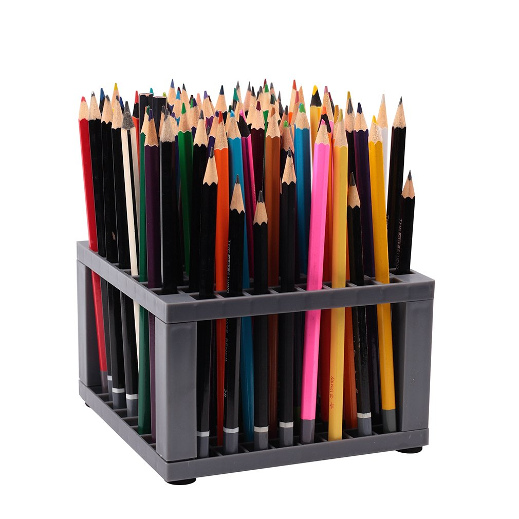 Falling in Art Scratch-resistant 96 holes Plastic Paint Brush Pen Holder Crate and Coloredpencil Organizer Stand(3 1/2 inches Tall)