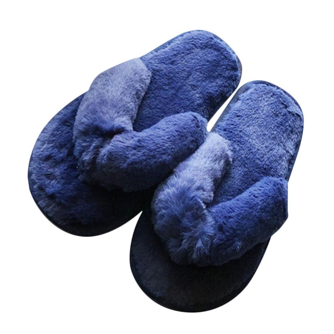 Sunfei Creative Women Casual Imitation Fur Plush House Spa Flip Flops Slippers (36, Blue)