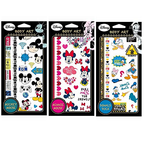 Disney Tattoo Stickers Temporary Body Art 3 Sheets (Mickey/Minnie/Donald Duck)